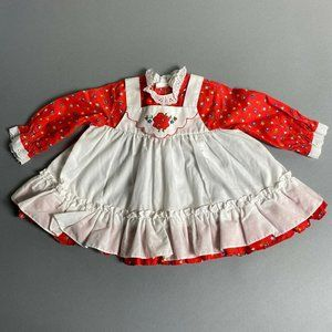 Vintage 70s Baby Girl Pinafore Style Apron Dress